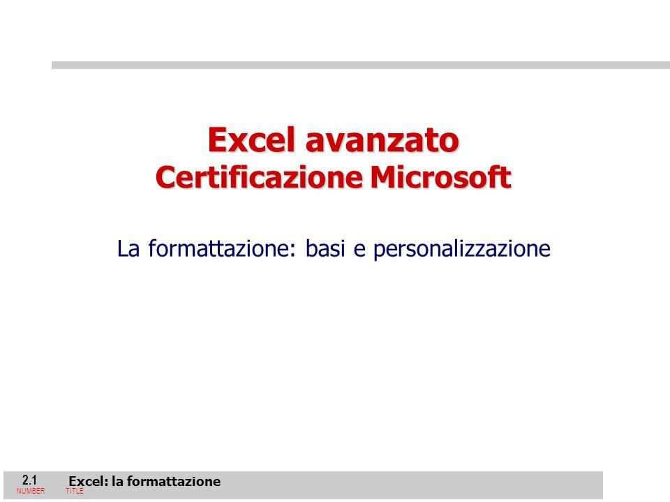 2.1 Excel: la formattazione NUMBERTITLE Excel avanzato Certificazione Microsoft La formattazione: basi e personalizzazione