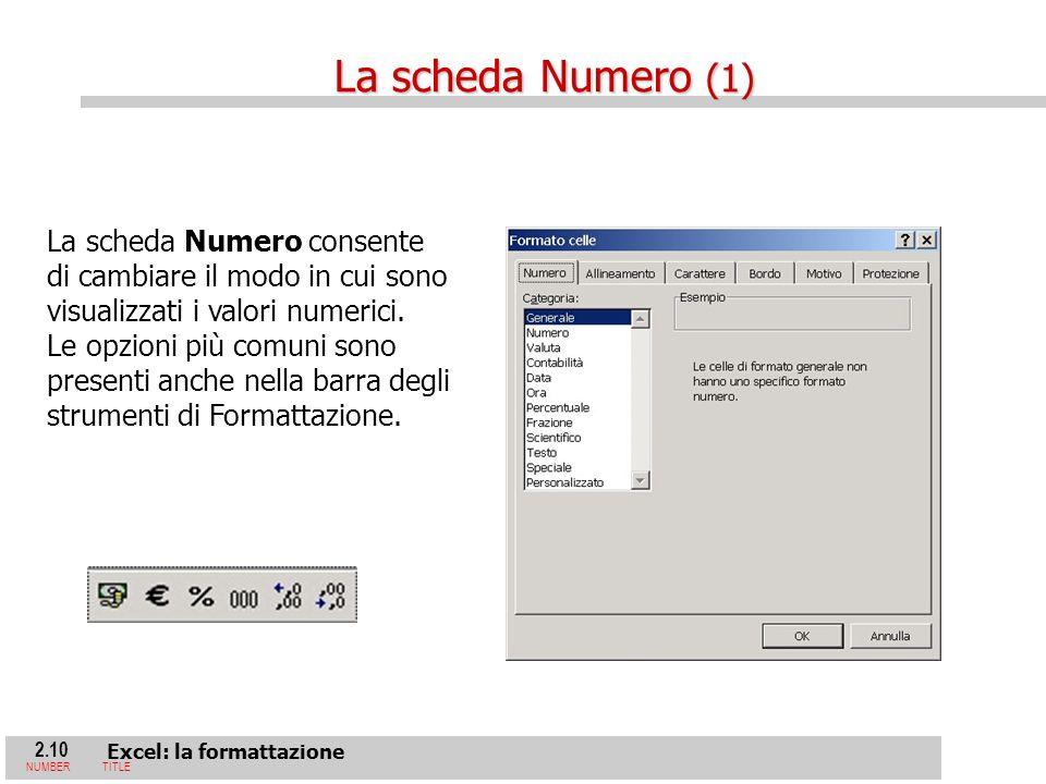 2.10 Excel: la formattazione NUMBERTITLE La scheda Numero consente di cambiare il modo in cui sono visualizzati i valori numerici.