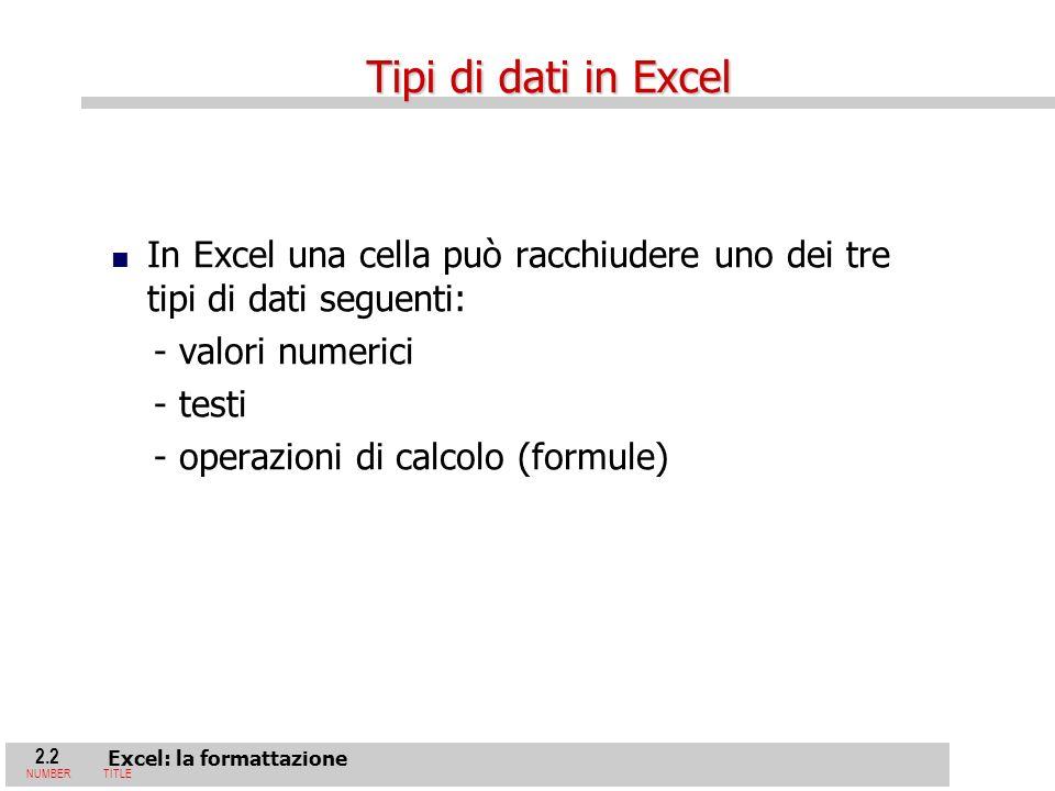 2.2 Excel: la formattazione NUMBERTITLE In Excel una cella può racchiudere uno dei tre tipi di dati seguenti: - valori numerici - testi - operazioni di calcolo (formule) Tipi di dati in Excel