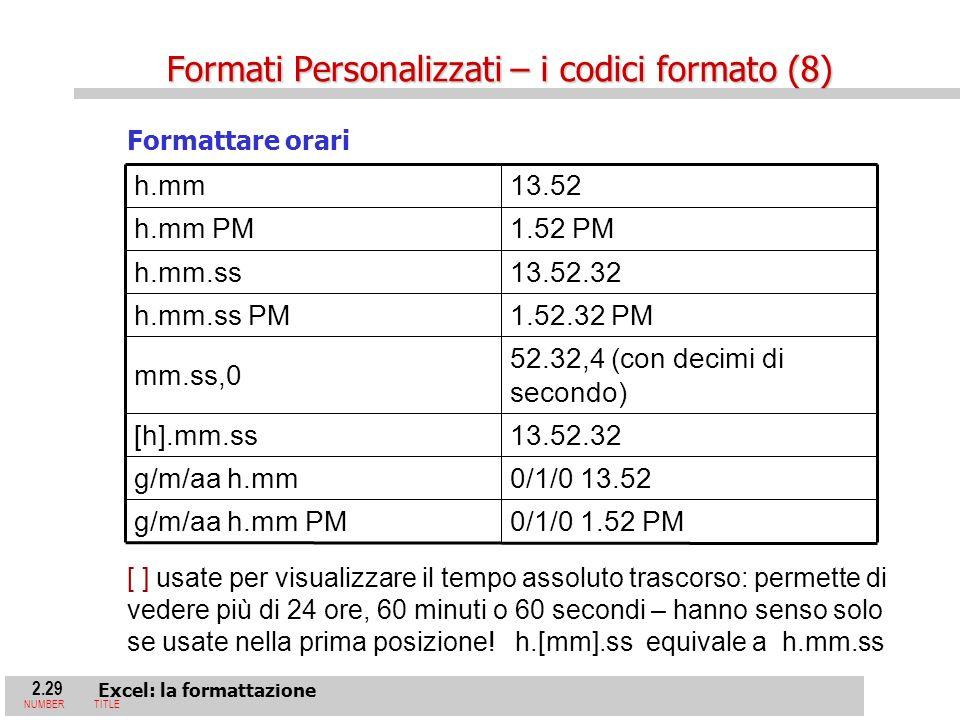 2.29 Excel: la formattazione NUMBERTITLE Formattare orari 0/1/0 1.52 PMg/m/aa h.mm PM 0/1/0 13.52g/m/aa h.mm 13.52.32[h].mm.ss 52.32,4 (con decimi di secondo) mm.ss,0 1.52.32 PMh.mm.ss PM 13.52.32h.mm.ss 1.52 PMh.mm PM 13.52h.mm [ ] usate per visualizzare il tempo assoluto trascorso: permette di vedere più di 24 ore, 60 minuti o 60 secondi – hanno senso solo se usate nella prima posizione.