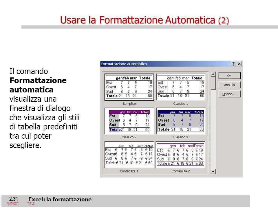 2.31 Excel: la formattazione NUMBERTITLE Il comando Formattazione automatica visualizza una finestra di dialogo che visualizza gli stili di tabella predefiniti tra cui poter scegliere.