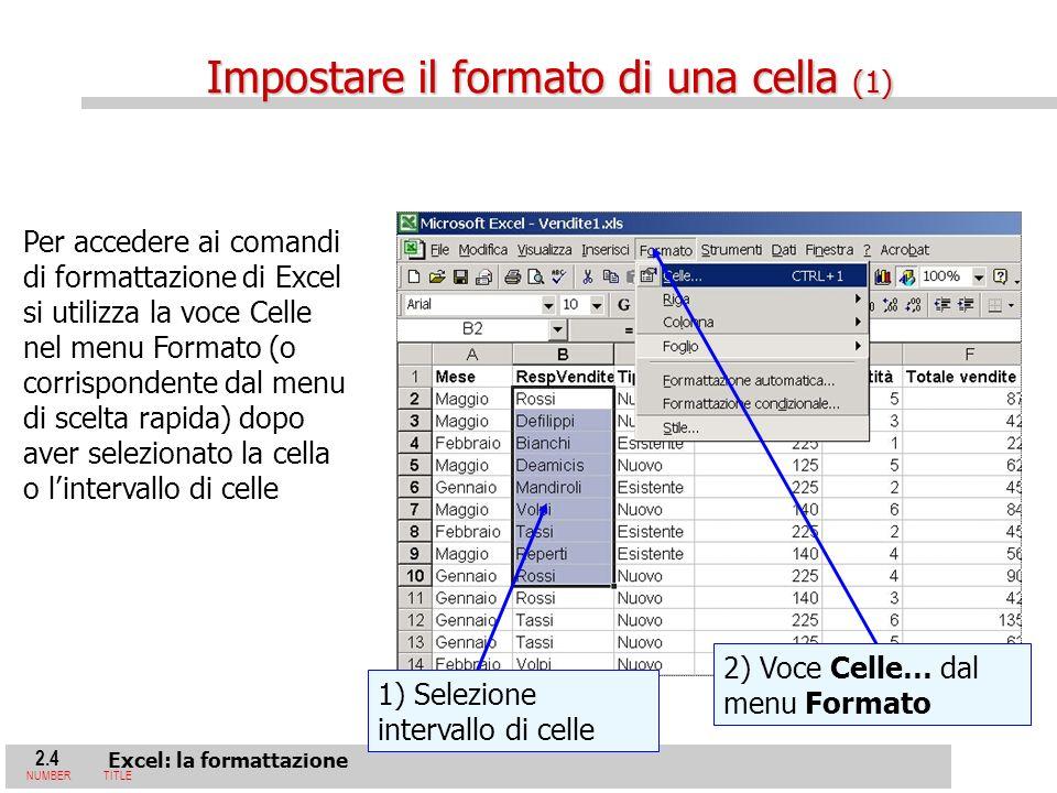 2.4 Excel: la formattazione NUMBERTITLE 1) Selezione intervallo di celle 2) Voce Celle… dal menu Formato Per accedere ai comandi di formattazione di Excel si utilizza la voce Celle nel menu Formato (o corrispondente dal menu di scelta rapida) dopo aver selezionato la cella o lintervallo di celle Impostare il formato di una cella (1)
