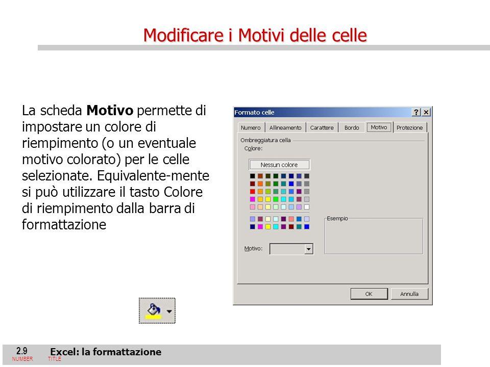 2.9 Excel: la formattazione NUMBERTITLE La scheda Motivo permette di impostare un colore di riempimento (o un eventuale motivo colorato) per le celle selezionate.
