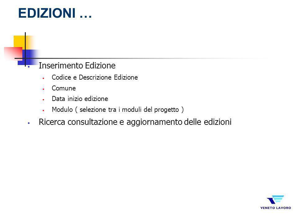 Inserimento Edizione Codice e Descrizione Edizione Comune Data inizio edizione Modulo ( selezione tra i moduli del progetto ) Ricerca consultazione e