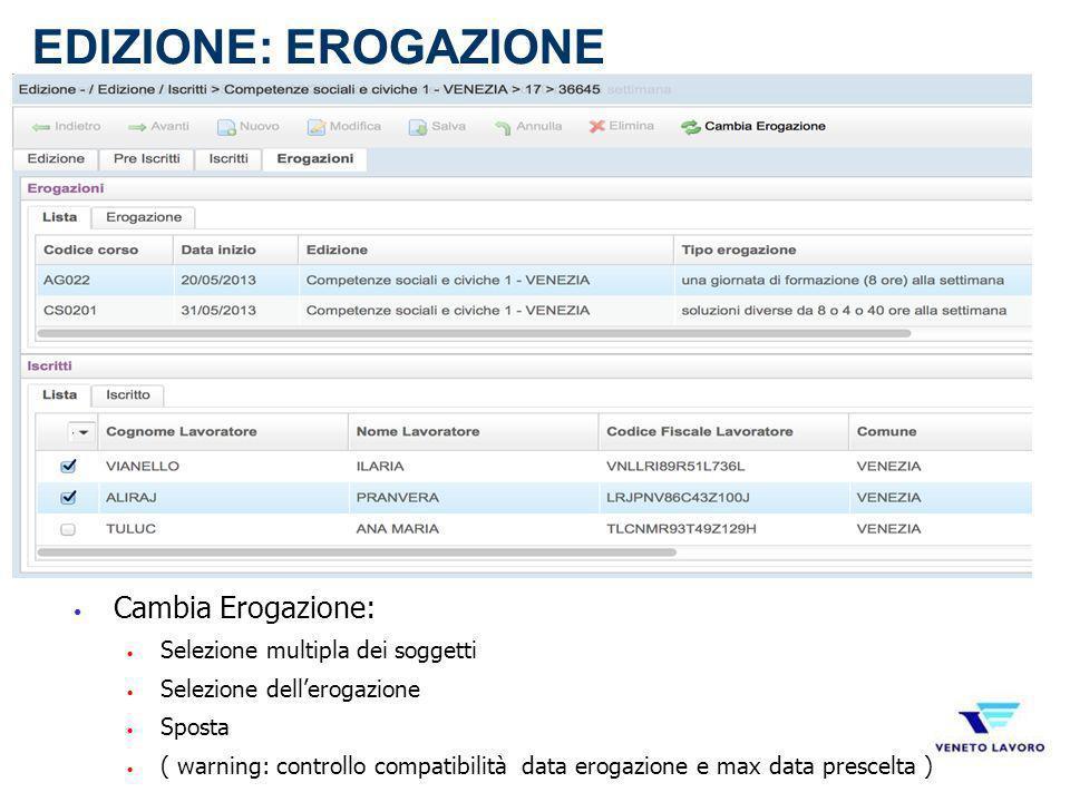 Cambia Erogazione: Selezione multipla dei soggetti Selezione dellerogazione Sposta ( warning: controllo compatibilità data erogazione e max data presc
