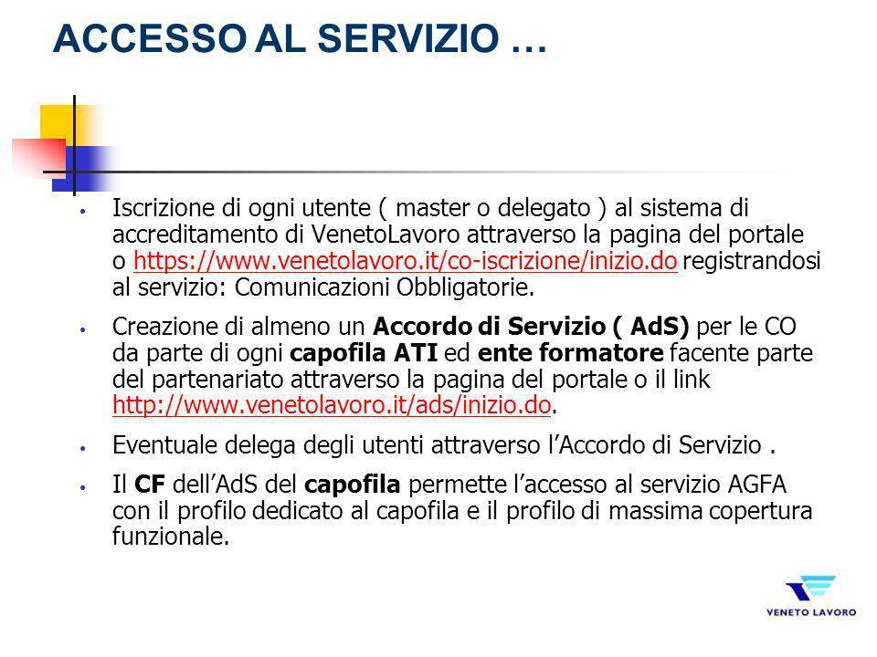 Iscrizione di ogni utente ( master o delegato ) al sistema di accreditamento di VenetoLavoro attraverso la pagina del portale o https://www.venetolavo