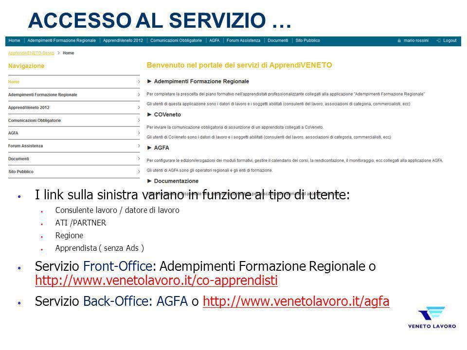 I link sulla sinistra variano in funzione al tipo di utente: Consulente lavoro / datore di lavoro ATI /PARTNER Regione Apprendista ( senza Ads ) Servi