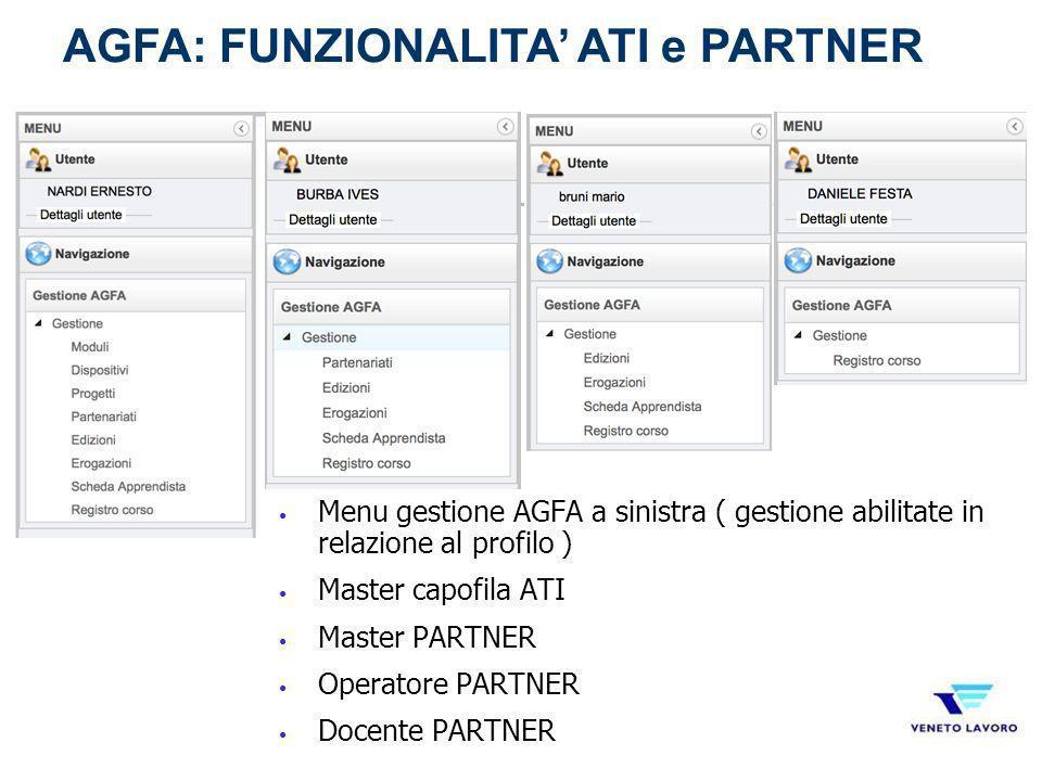 Menu gestione AGFA a sinistra ( gestione abilitate in relazione al profilo ) Master capofila ATI Master PARTNER Operatore PARTNER Docente PARTNER AGFA