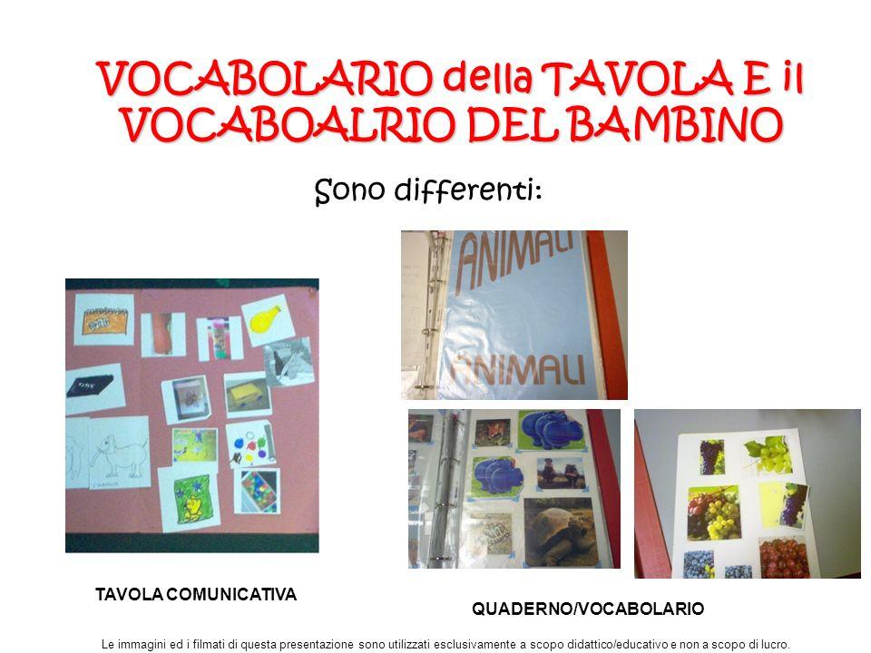 VOCABOLARIO della TAVOLA E il VOCABOALRIO DEL BAMBINO Sono differenti: Le immagini ed i filmati di questa presentazione sono utilizzati esclusivamente