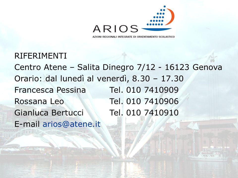 RIFERIMENTI Centro Atene – Salita Dinegro 7/12 - 16123 Genova Orario: dal lunedì al venerdì, 8.30 – 17.30 Francesca PessinaTel. 010 7410909 Rossana Le