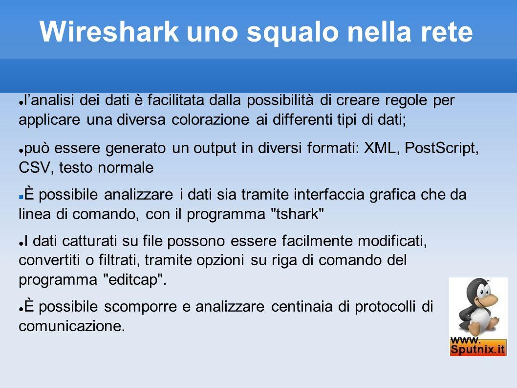 Wireshark uno squalo nella rete lanalisi dei dati è facilitata dalla possibilità di creare regole per applicare una diversa colorazione ai differenti