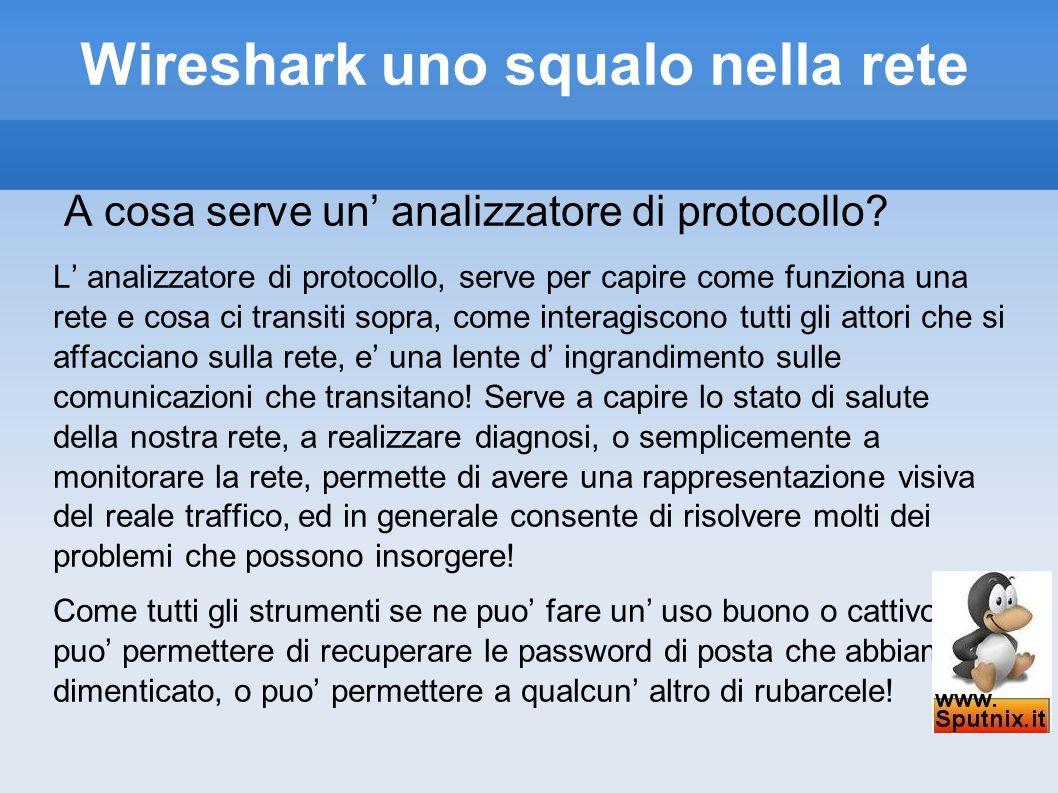 Wireshark uno squalo nella rete A cosa serve un analizzatore di protocollo? L analizzatore di protocollo, serve per capire come funziona una rete e co