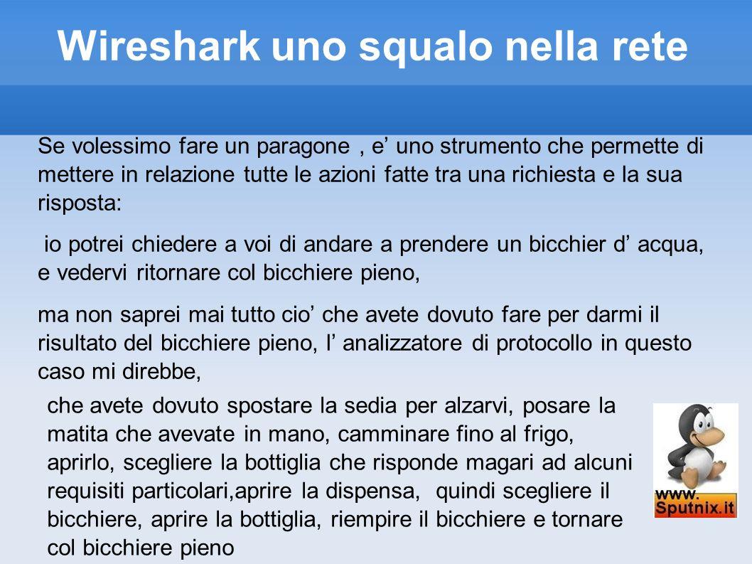 Wireshark uno squalo nella rete Se volessimo fare un paragone, e uno strumento che permette di mettere in relazione tutte le azioni fatte tra una rich