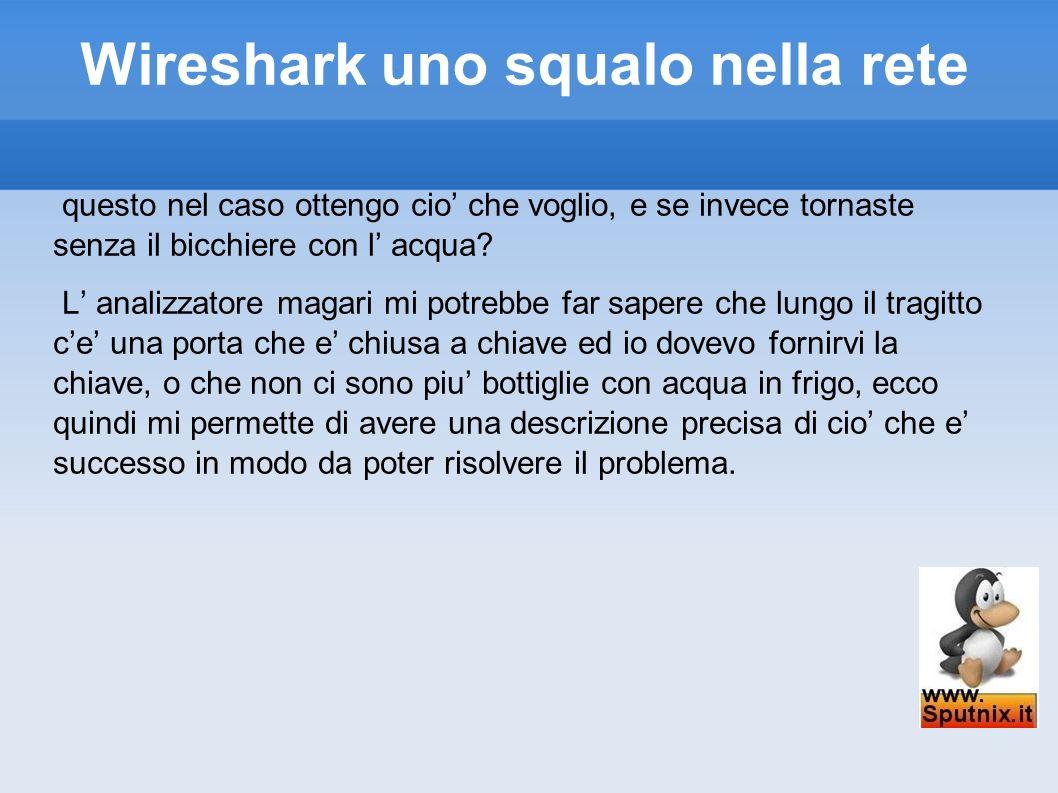 Wireshark uno squalo nella rete questo nel caso ottengo cio che voglio, e se invece tornaste senza il bicchiere con l acqua? L analizzatore magari mi