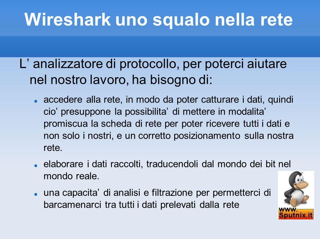 Wireshark uno squalo nella rete L analizzatore di protocollo, per poterci aiutare nel nostro lavoro, ha bisogno di: accedere alla rete, in modo da pot