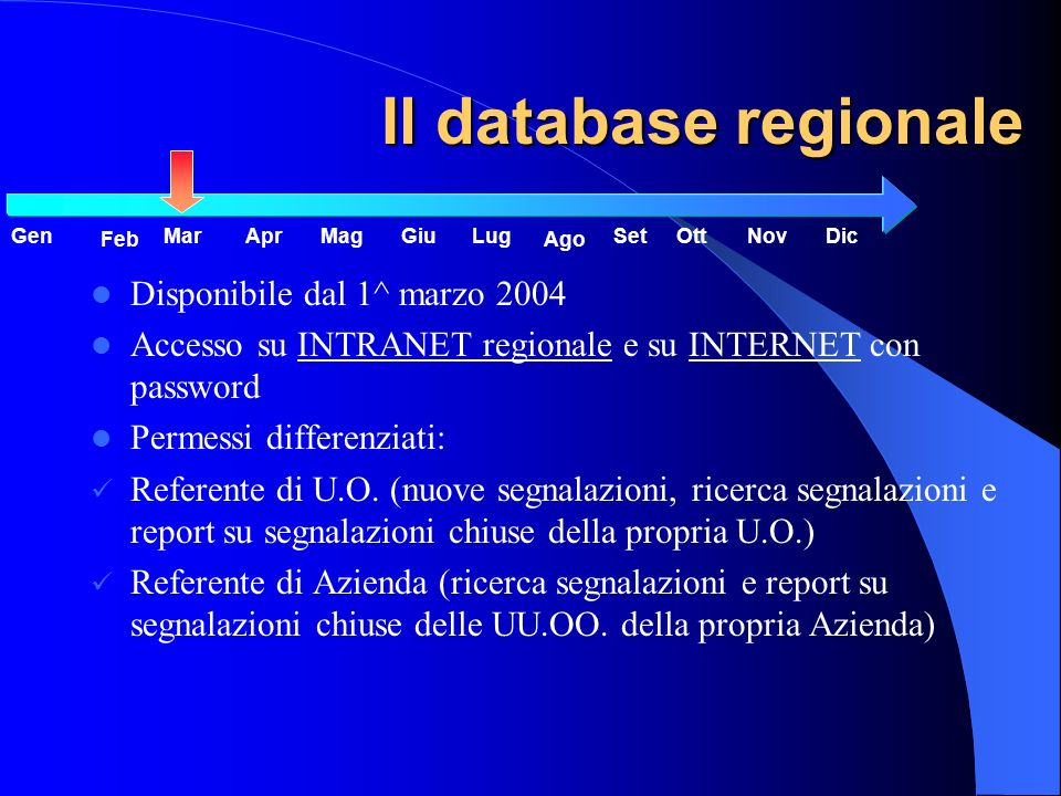 Il database regionale Disponibile dal 1^ marzo 2004 Accesso su INTRANET regionale e su INTERNET con password Permessi differenziati: Referente di U.O.