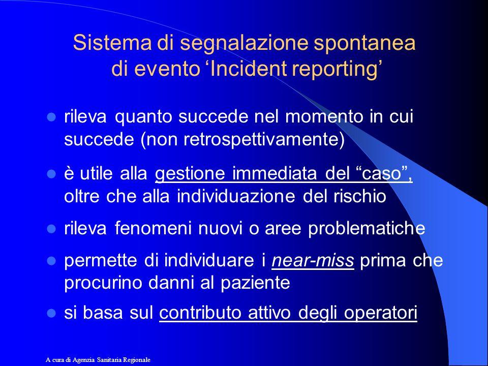 Sistema di segnalazione spontanea di evento Incident reporting rileva quanto succede nel momento in cui succede (non retrospettivamente) è utile alla