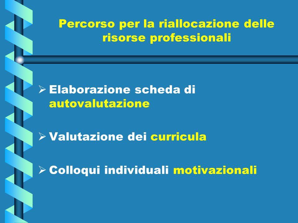Percorso per la riallocazione delle risorse professionali Elaborazione scheda di autovalutazione Valutazione dei curricula Colloqui individuali motivazionali