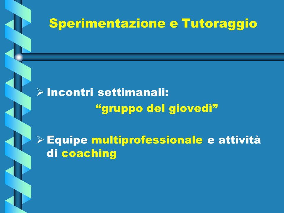 Sperimentazione e Tutoraggio Incontri settimanali: gruppo del giovedì Equipe multiprofessionale e attività di coaching