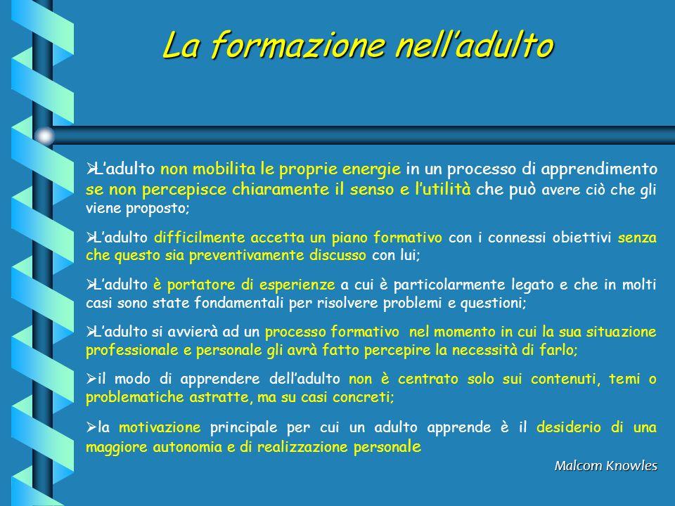 La formazione nelladulto Ladulto non mobilita le proprie energie in un processo di apprendimento se non percepisce chiaramente il senso e lutilità che
