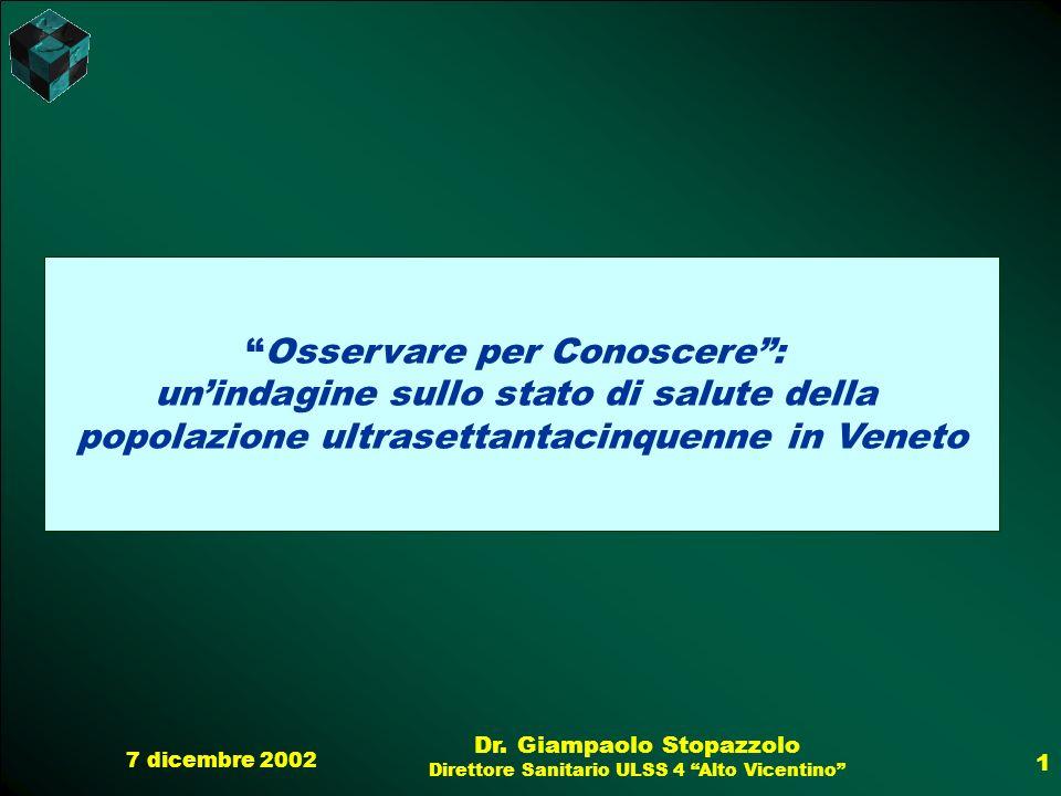 7 dicembre 2002 Dr. Giampaolo Stopazzolo Direttore Sanitario ULSS 4 Alto Vicentino 1 Osservare per Conoscere: unindagine sullo stato di salute della p