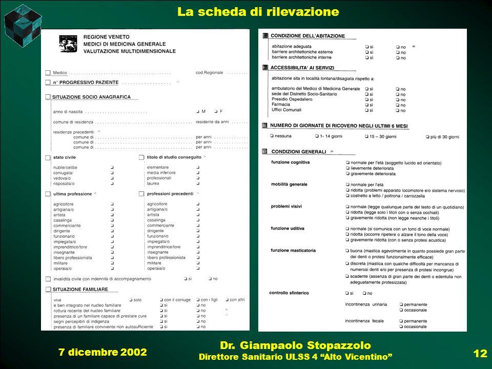 7 dicembre 2002 Dr. Giampaolo Stopazzolo Direttore Sanitario ULSS 4 Alto Vicentino 12 La scheda di rilevazione