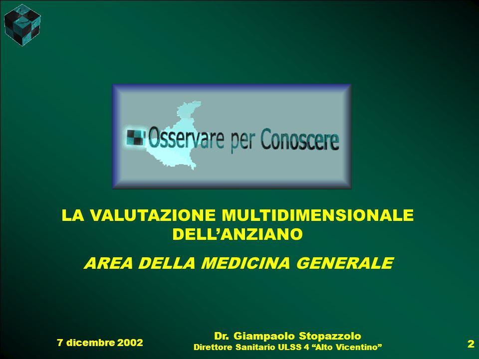 7 dicembre 2002 Dr. Giampaolo Stopazzolo Direttore Sanitario ULSS 4 Alto Vicentino 2 LA VALUTAZIONE MULTIDIMENSIONALE DELLANZIANO AREA DELLA MEDICINA