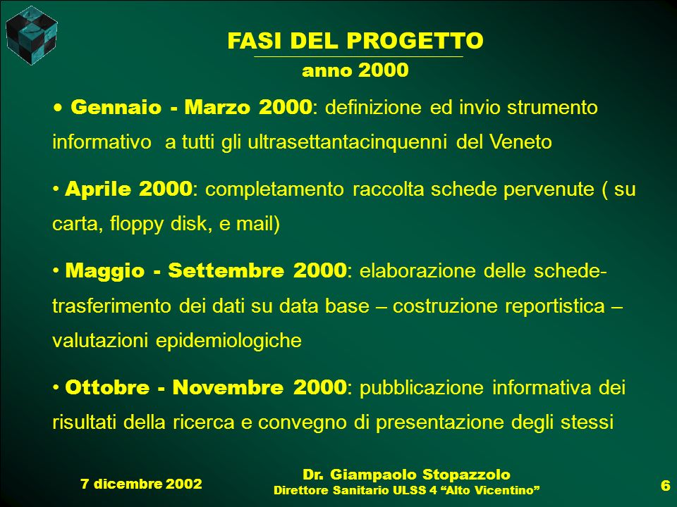 7 dicembre 2002 Dr. Giampaolo Stopazzolo Direttore Sanitario ULSS 4 Alto Vicentino 6 FASI DEL PROGETTO anno 2000 Gennaio - Marzo 2000 : definizione ed