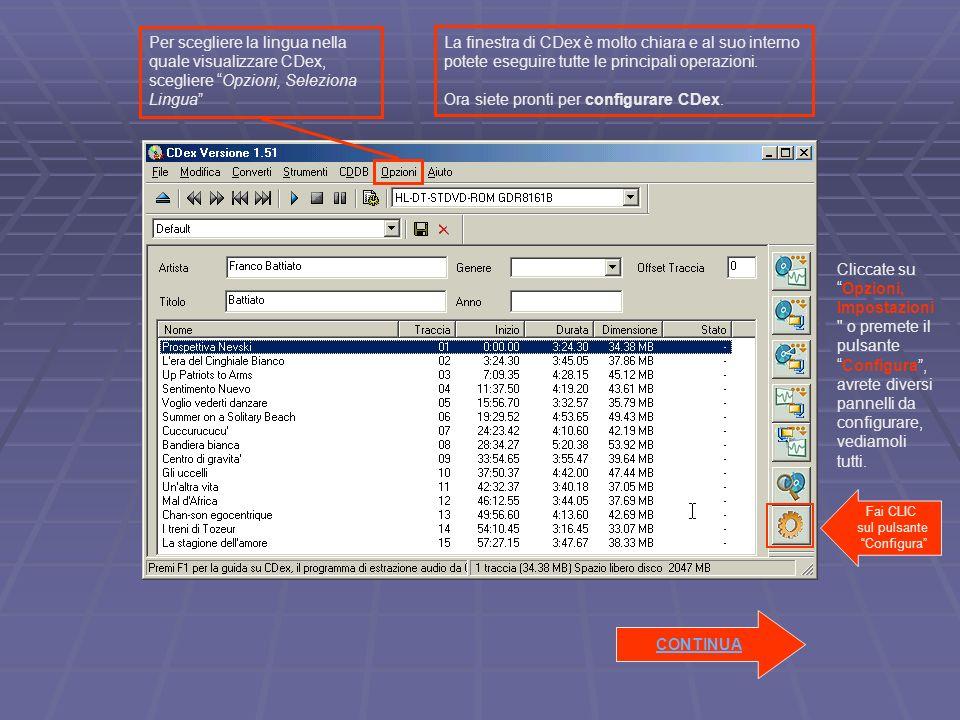 Inserire il Cd e attendere che venga visualizzata la lista delle tracce audio.