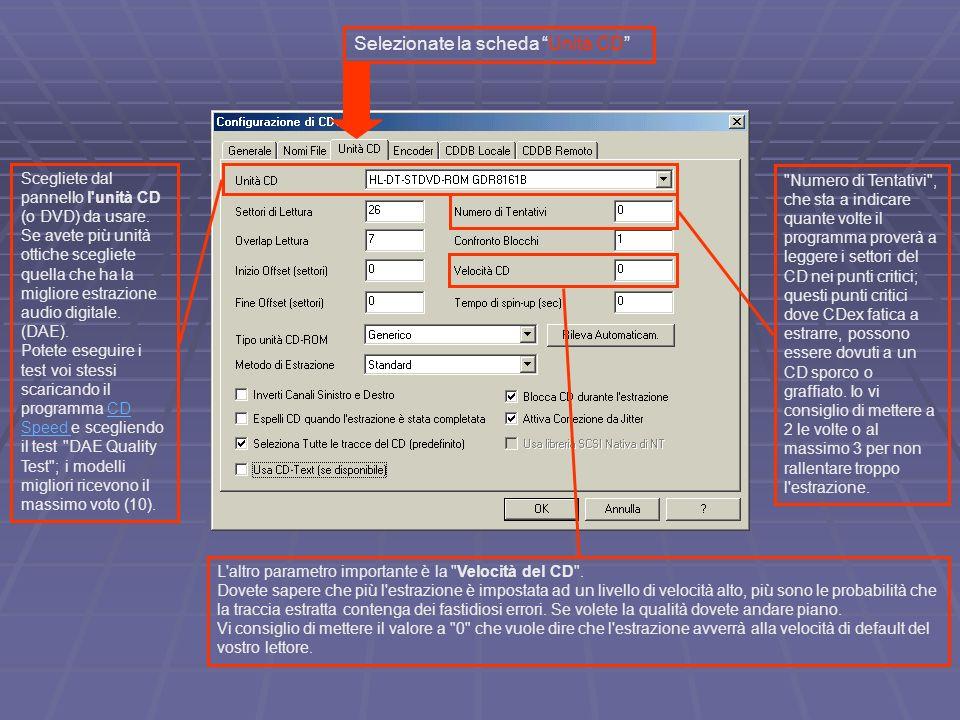 In Metodo di Estrazione potete scegliere tra l algoritmo di estrazione Standard di CDex, o i quattro metodi che usano le librerie di CD Paranoia, per un ottima estrazione selezionate Paranoia, no riparazione graffi (un po più lento del metodo standard), per i CD rovinati usate il metodo Completo (lento).