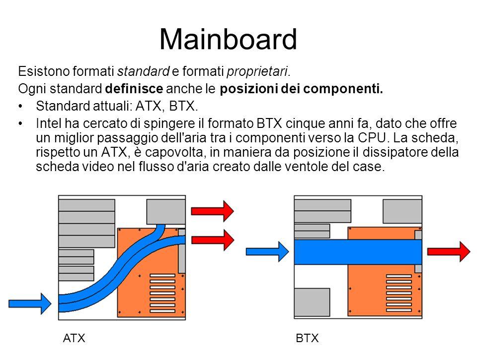 Mainboard Esistono formati standard e formati proprietari. Ogni standard definisce anche le posizioni dei componenti. Standard attuali: ATX, BTX. Inte