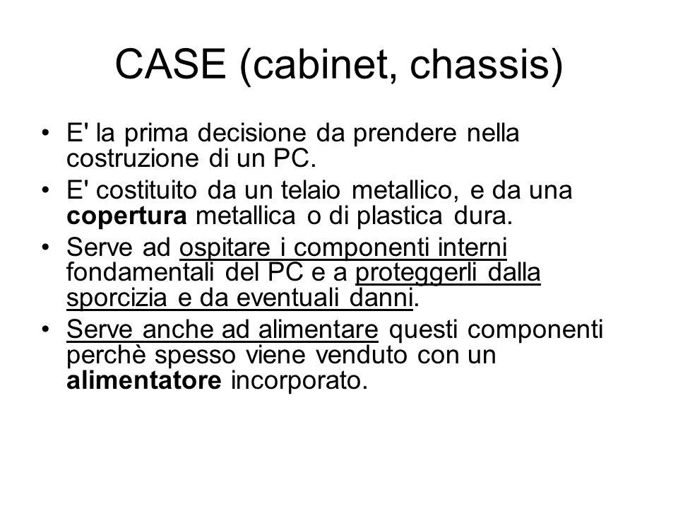 CASE (cabinet, chassis) E' la prima decisione da prendere nella costruzione di un PC. E' costituito da un telaio metallico, e da una copertura metalli