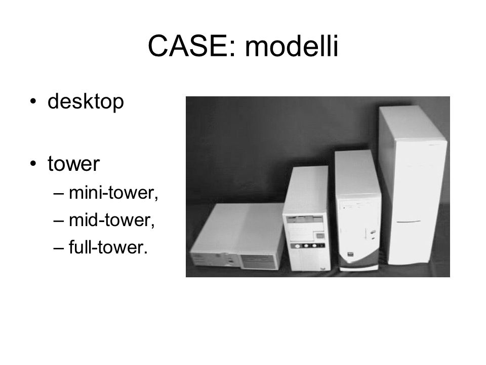 CASE: modelli desktop tower –mini-tower, –mid-tower, –full-tower.