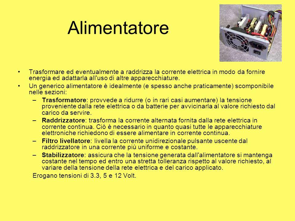 Alimentatore Trasformare ed eventualmente a raddrizza la corrente elettrica in modo da fornire energia ed adattarla all'uso di altre apparecchiature.