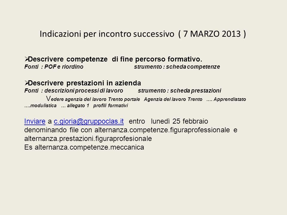 Indicazioni per incontro successivo ( 7 MARZO 2013 ) Descrivere competenze di fine percorso formativo. Fonti : POF e riordino strumento : scheda compe
