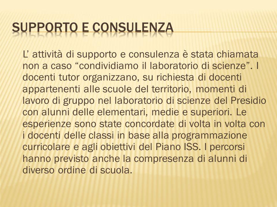 L attività di supporto e consulenza è stata chiamata non a caso condividiamo il laboratorio di scienze. I docenti tutor organizzano, su richiesta di d