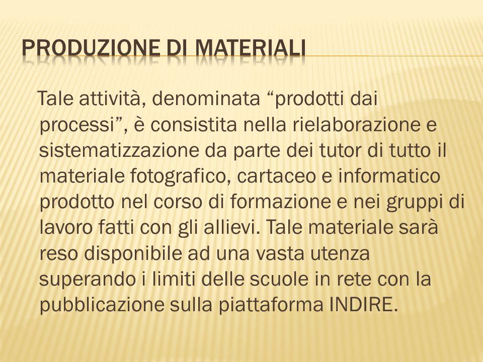 Tale attività, denominata prodotti dai processi, è consistita nella rielaborazione e sistematizzazione da parte dei tutor di tutto il materiale fotogr