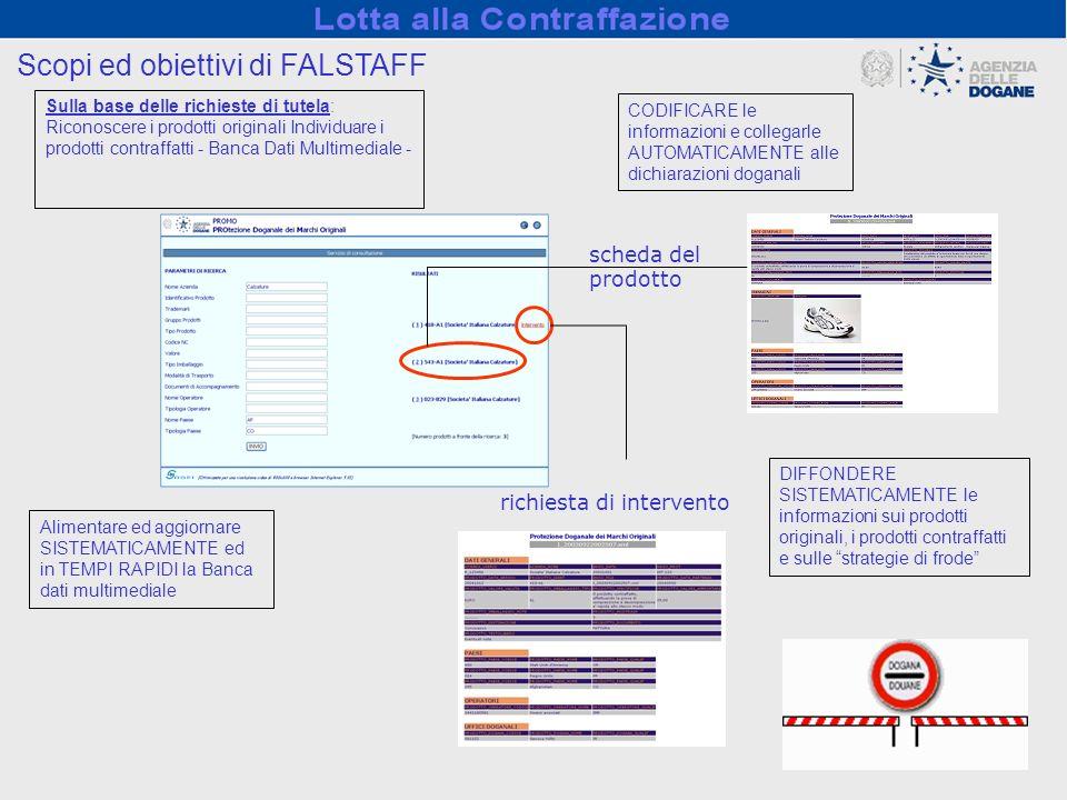 richiesta di intervento scheda del prodotto Scopi ed obiettivi di FALSTAFF Sulla base delle richieste di tutela: Riconoscere i prodotti originali Indi