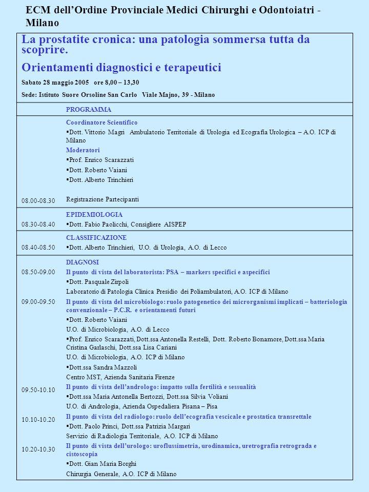 ECM dellOrdine Provinciale Medici Chirurghi e Odontoiatri - Milano La prostatite cronica: una patologia sommersa tutta da scoprire. Orientamenti diagn