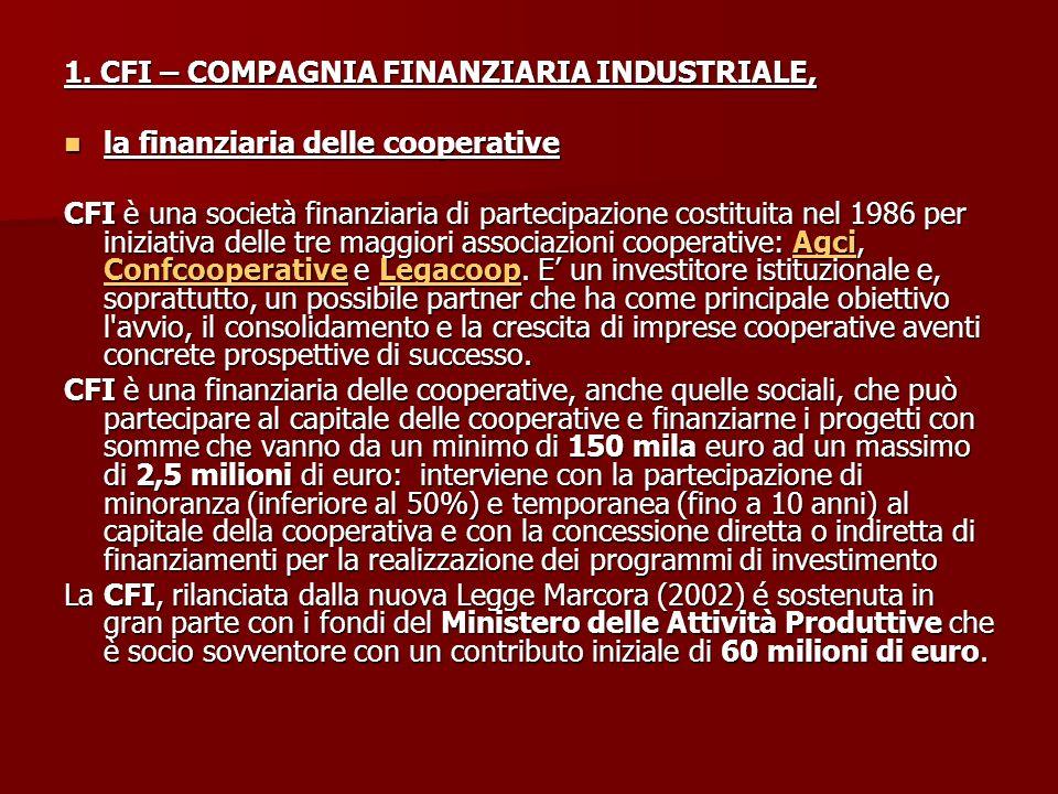 1. CFI – COMPAGNIA FINANZIARIA INDUSTRIALE, la finanziaria delle cooperative la finanziaria delle cooperative CFI è una società finanziaria di parteci