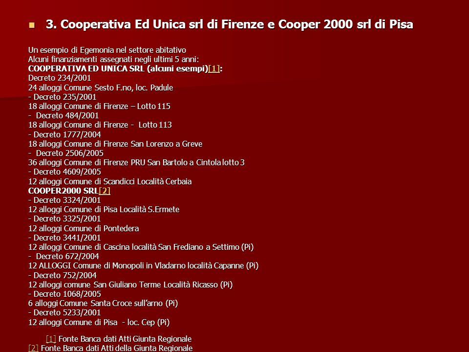 3. Cooperativa Ed Unica srl di Firenze e Cooper 2000 srl di Pisa 3.