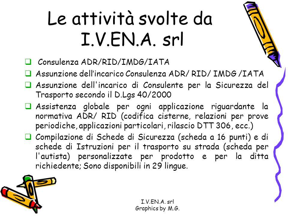 I.V.EN.A. srl Graphics by M.G. Le attività svolte da I.V.EN.A. srl Consulenza ADR/RID/IMDG/IATA Assunzione dellincarico Consulenza ADR/ RID/ IMDG /IAT