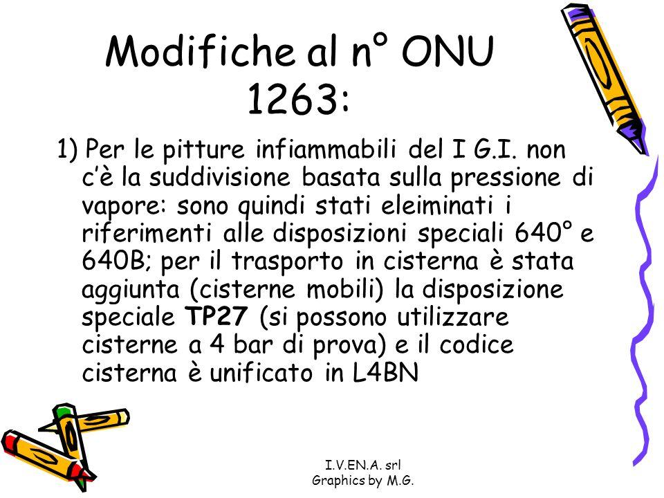 I.V.EN.A. srl Graphics by M.G. Modifiche al n° ONU 1263: 1) Per le pitture infiammabili del I G.I. non cè la suddivisione basata sulla pressione di va