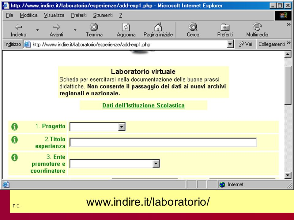 F.C. www.indire.it/laboratorio/