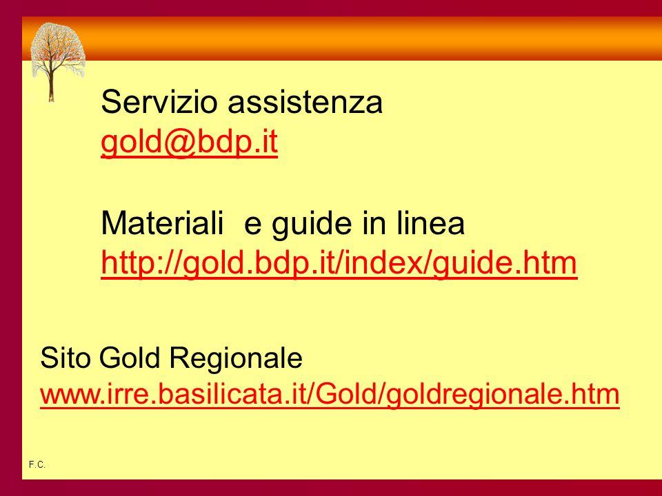 F.C. Servizio assistenza gold@bdp.it Materiali e guide in linea http://gold.bdp.it/index/guide.htm Sito Gold Regionale www.irre.basilicata.it/Gold/gol