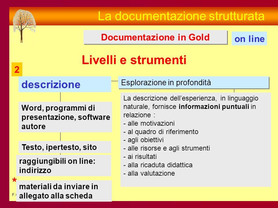 F.C. La documentazione strutturata Documentazione in Gold on line La descrizione dellesperienza, in linguaggio naturale, fornisce informazioni puntual