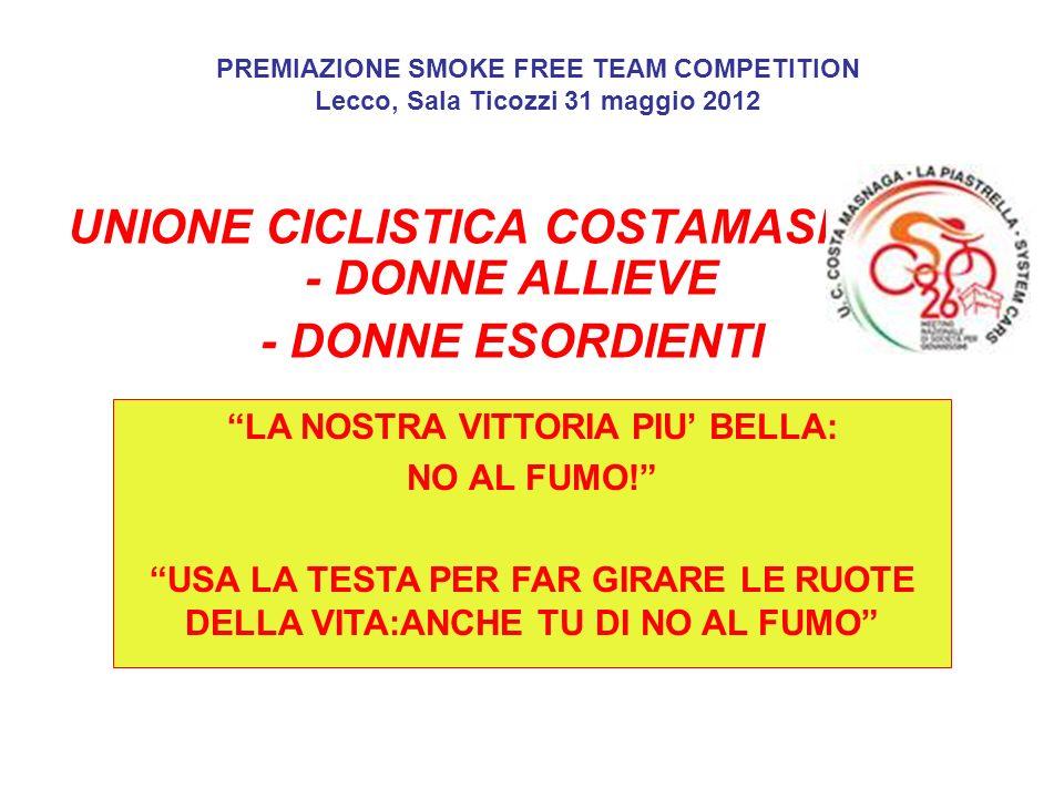 UNIONE CICLISTICA COSTAMASNAGA - DONNE ALLIEVE - DONNE ESORDIENTI PREMIAZIONE SMOKE FREE TEAM COMPETITION Lecco, Sala Ticozzi 31 maggio 2012 LA NOSTRA