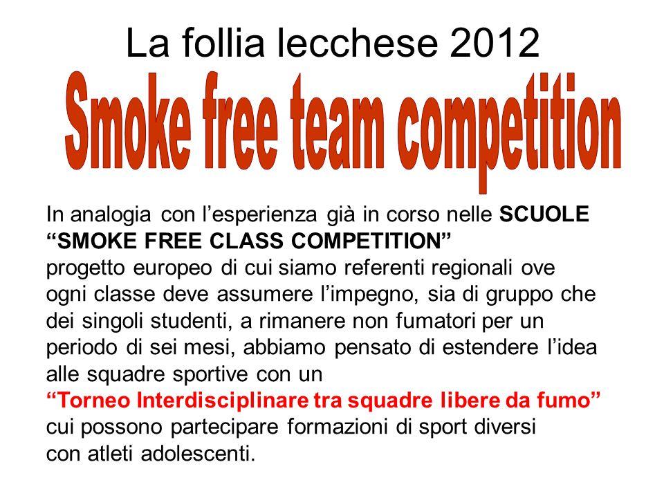 La follia lecchese 2012 In analogia con lesperienza già in corso nelle SCUOLE SMOKE FREE CLASS COMPETITION progetto europeo di cui siamo referenti reg