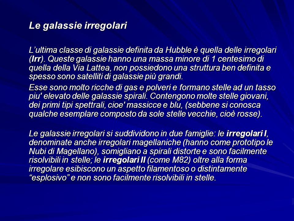 Le galassie irregolari Lultima classe di galassie definita da Hubble è quella delle irregolari (Irr). Queste galassie hanno una massa minore di 1 cent