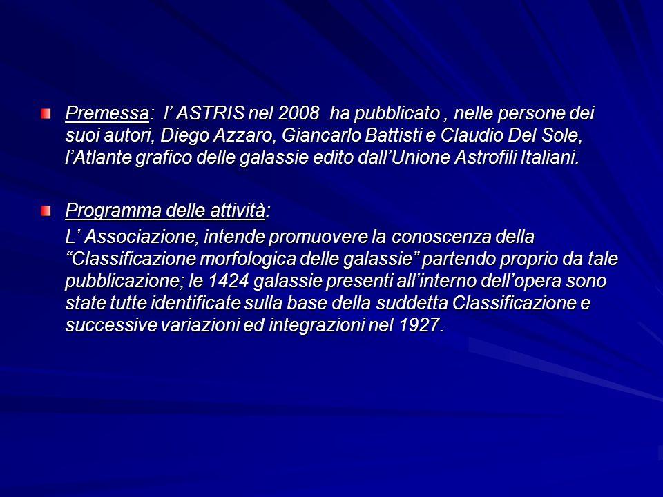 Premessa: l ASTRIS nel 2008 ha pubblicato, nelle persone dei suoi autori, Diego Azzaro, Giancarlo Battisti e Claudio Del Sole, lAtlante grafico delle galassie edito dallUnione Astrofili Italiani.